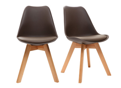 PAULINE Chocolate Brown Modern Chairs Wooden Legs (set of 2)