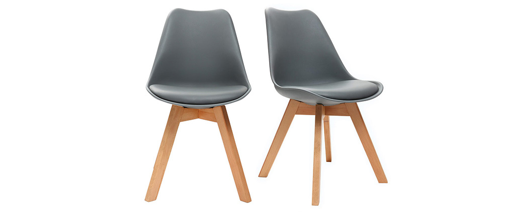 PAULINE Grey Modern Chairs Wooden Legs (set of 2)