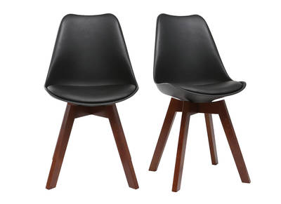 PAULINE set of 2 designer black and walnut chairs