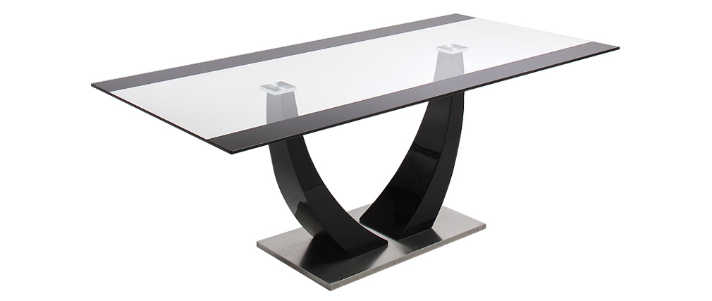 PEARL designer glass and black lacquered dining table 200cm