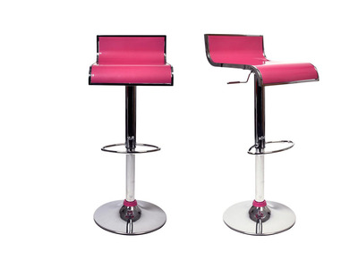 Pink Modern Bar/Kitchen Stool WAVES (set of 2)