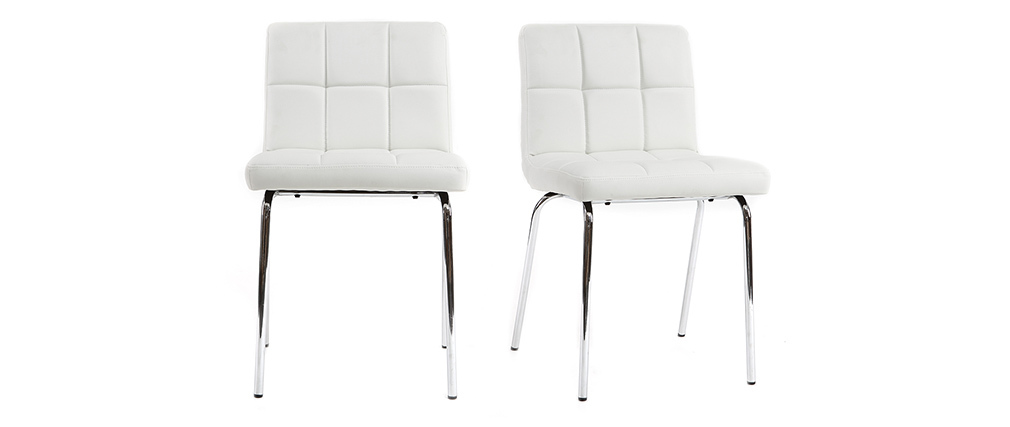 POLLY set of 2 designer white quilted chairs