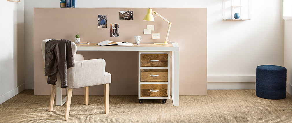 PUKKA designer desk in mango wood and white metal L150