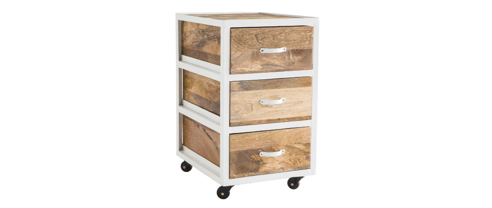 PUKKA industrial designer office drawer unit in mango wood and white metal