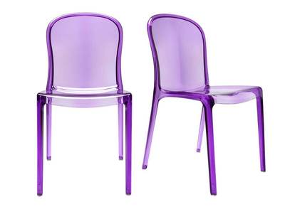 Purple Modern Polycarbonate Chair THALYSSE (set of 2)