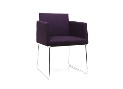 Purple Polyester and Chromed Steel Modern Chair NEORA