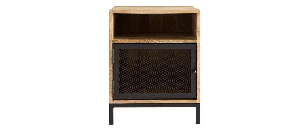 RACK mango wood and perforated metal industrial bedside table