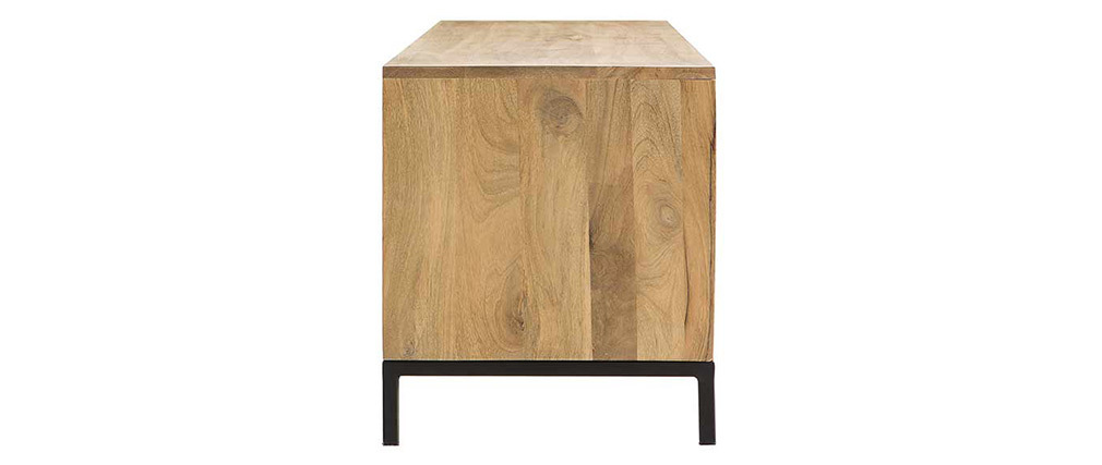 RACK mango wood and perforated metal industrial TV stand