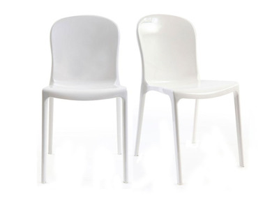 ransparent White Polycarbonate Modern Chairs THALYSSE (set of 2)