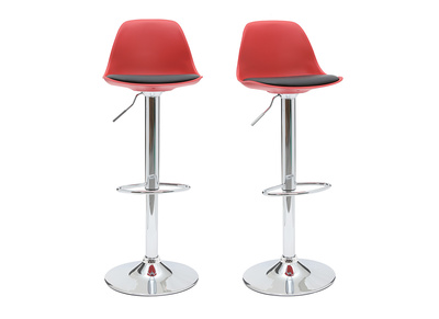 Red and Black Modern Bar Stool STEEVY (set of 2)
