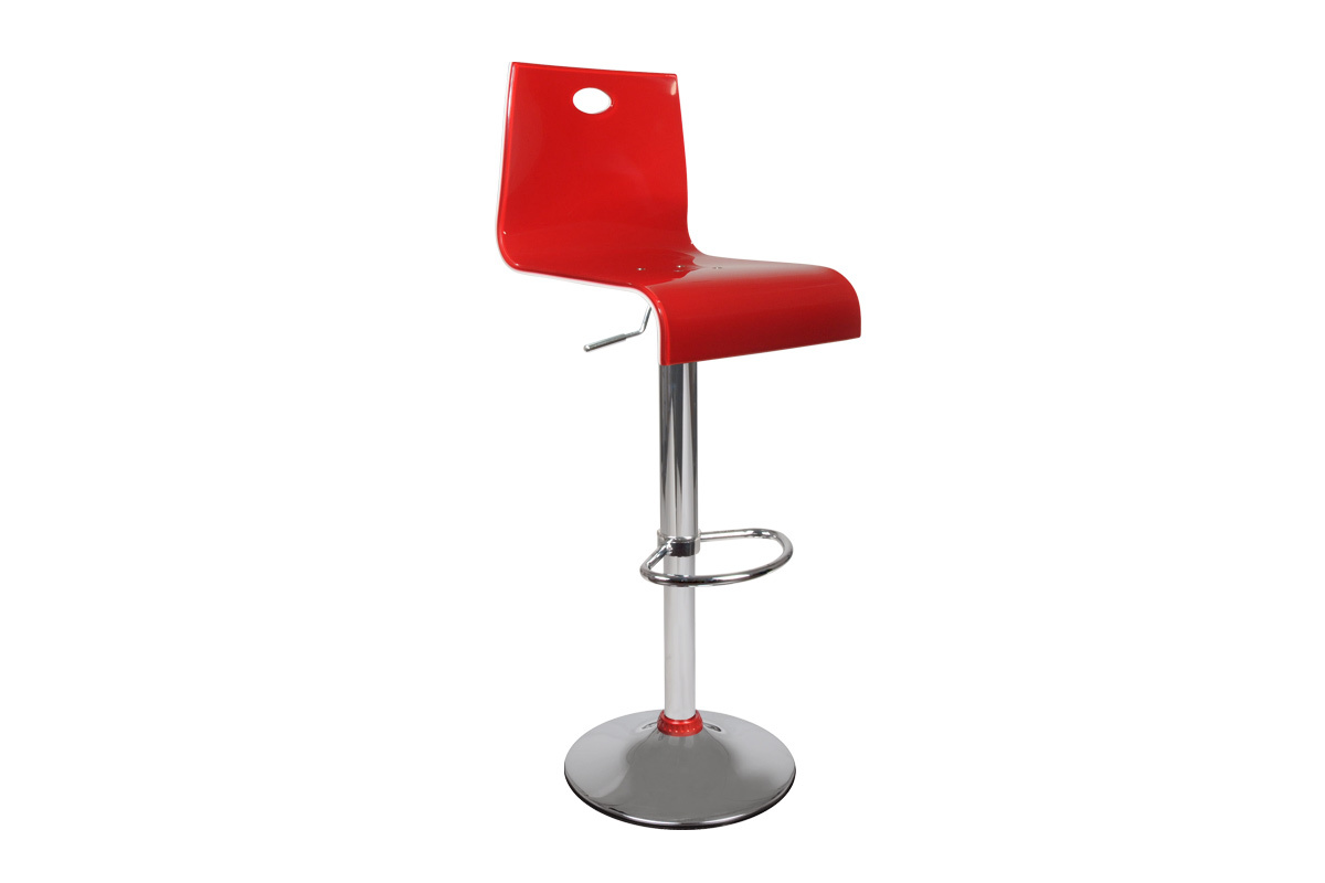Red and white bar stool SATURNE