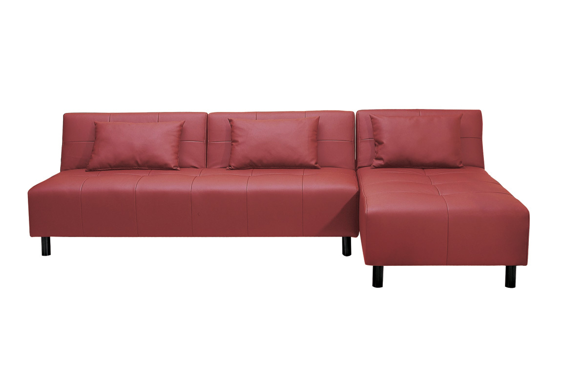 Red corner sofa bed in faux leather houston miliboo for Red corner sofa