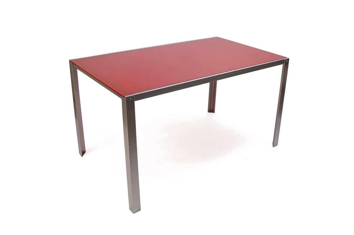 red kolin dining table metal legs and glass table top miliboo. Black Bedroom Furniture Sets. Home Design Ideas