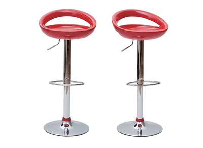 Red Modern Bar/Kitchen Stool COMET (set of 2)