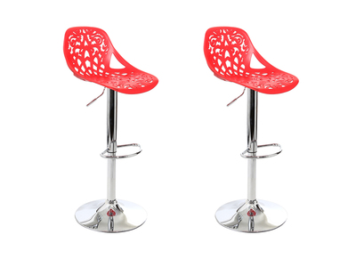 Red Modern Bar Stool (set of 2) BAROCCA