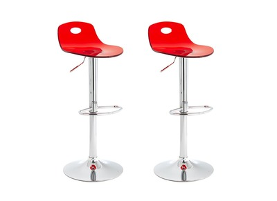 Red Modern Bar Stools ATRIA (set of 2)