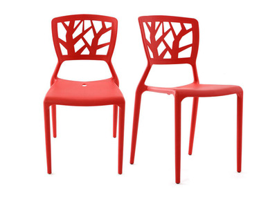 Red Modern Chair KATIA (set of 2)