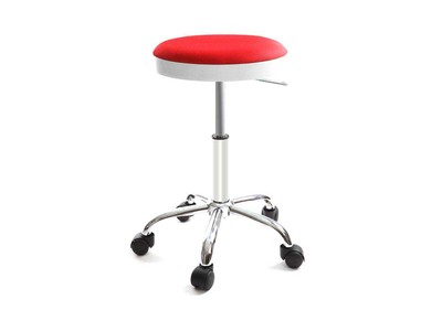 Red Modern Stool on Casters THEMIS