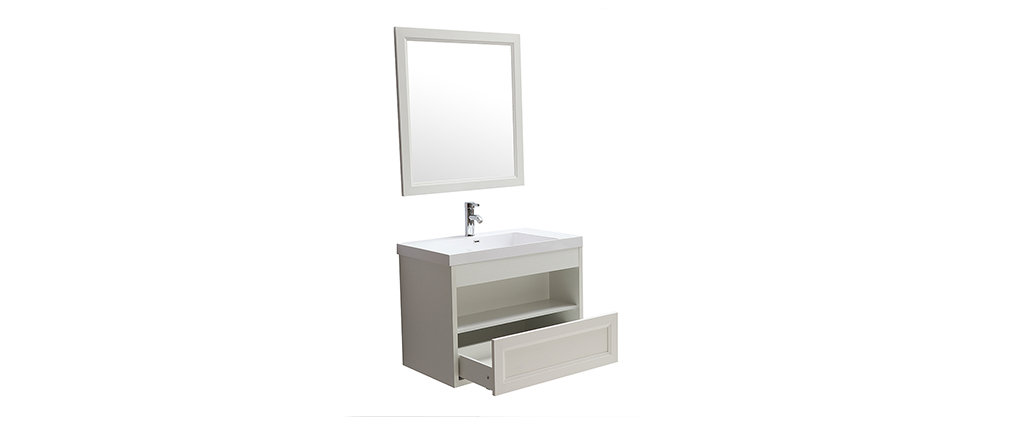 River Wall Mounted White Bathroom Unit With Basin Mirror And
