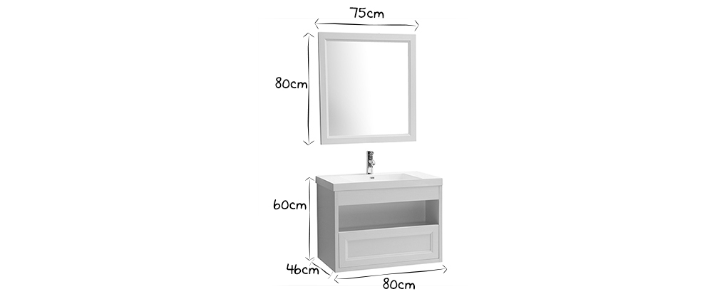 RIVER wall-mounted white bathroom unit with basin, mirror and storage