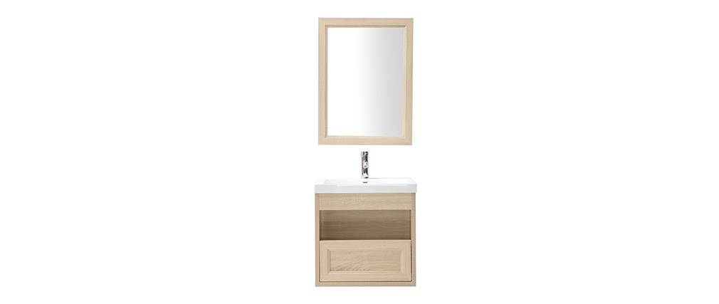 RIVER wall-mounted wooden bathroom unit with basin, mirror and storage