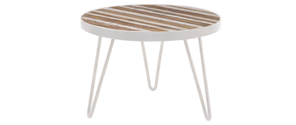 ROCHELLE 50x35cm round side table in white metal and wood