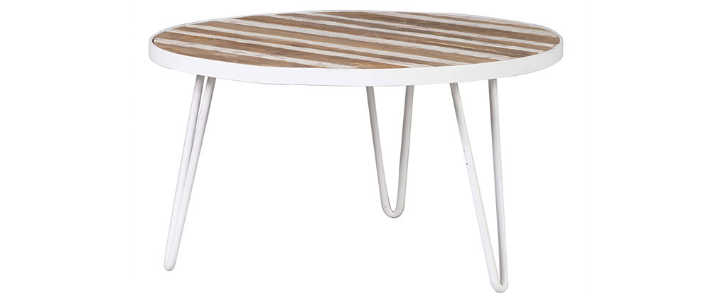 ROCHELLE 80x45 round coffee table in white metal and wood