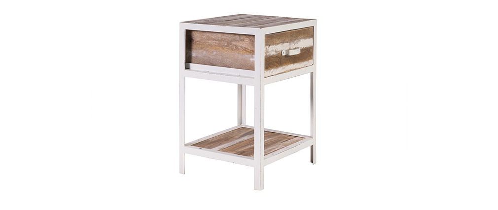 ROCHELLE Wood and White Metal Bedside Table