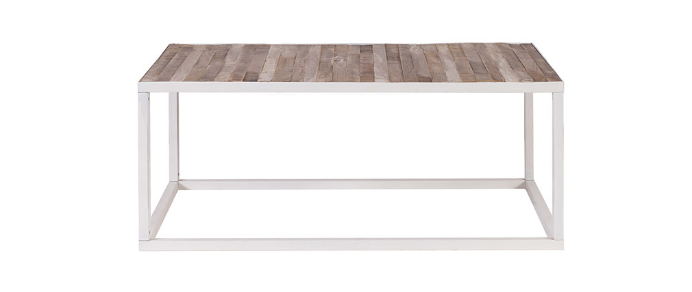 ROCHELLE Wood and White Metal Coffee Table (100x60cm)