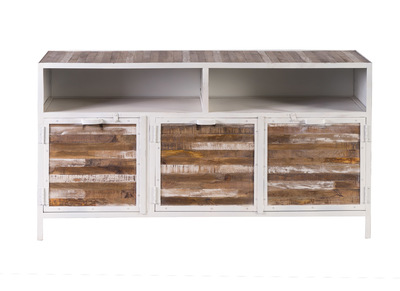 ROCHELLE Wood and White Metal Sideboard (150cm)