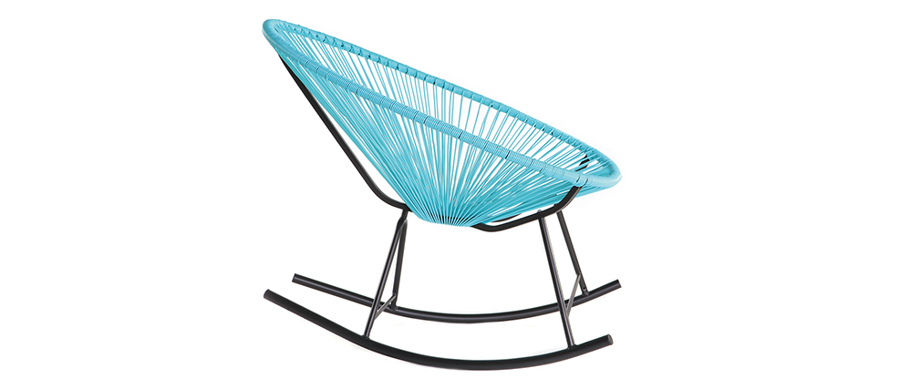 Rocking chair in turquoise wire resin BELLAVISTA