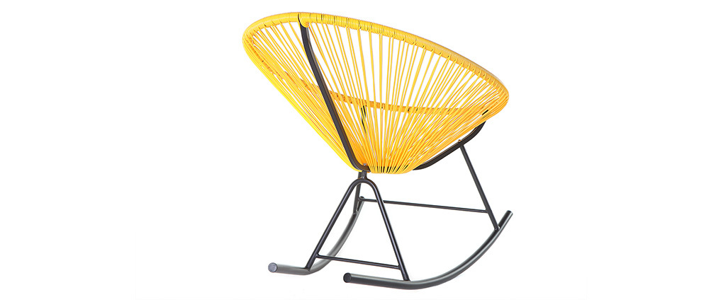 Rocking chair in yellow wire resin BELLAVISTA
