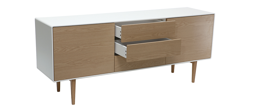 ROMY designer contemporary white and wooden sideboard