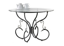 Round dining table in steel and tempered glass FLORENCE