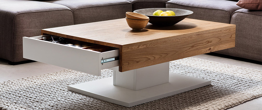 SCAB designer white lacquered and oak coffee table with 2 drawers