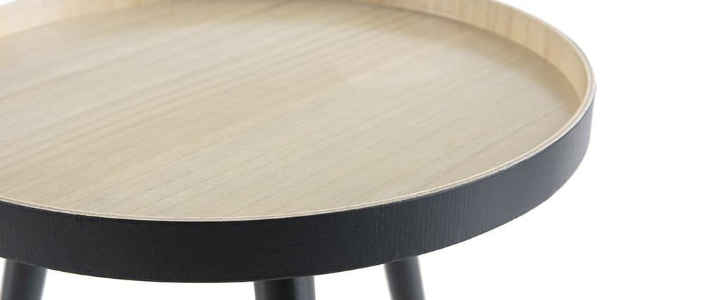 Scandinavian anthracite wooden side table NINO