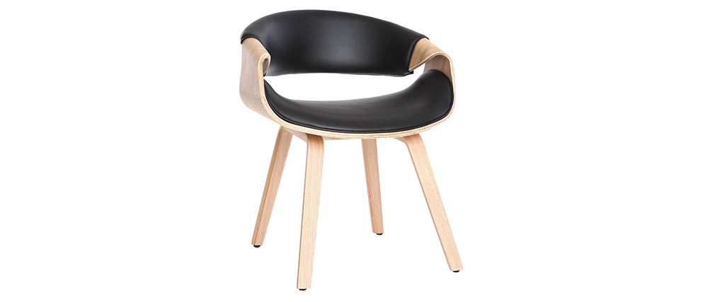 Scandinavian armchair black and light wood ARAMIS