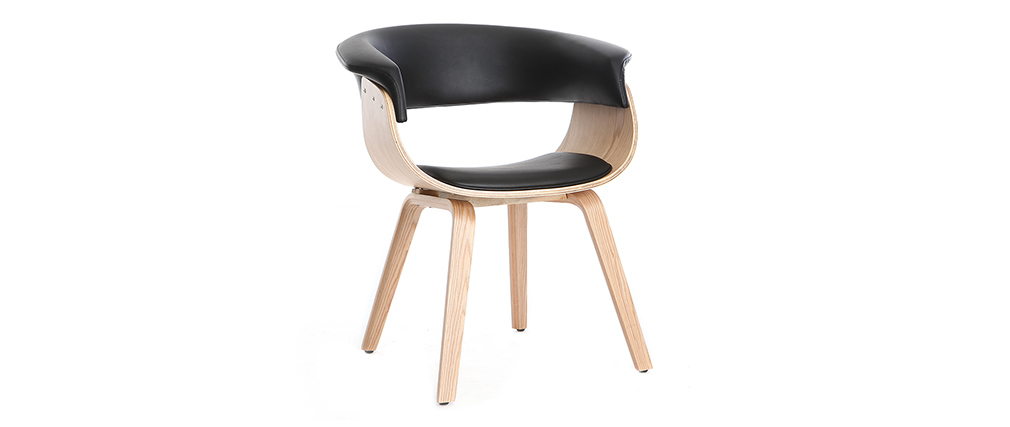 Scandinavian armchair black and light wood OKTAV