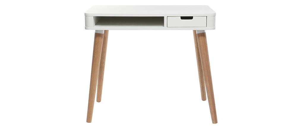 Scandinavian kids desk wood and white TOTEM