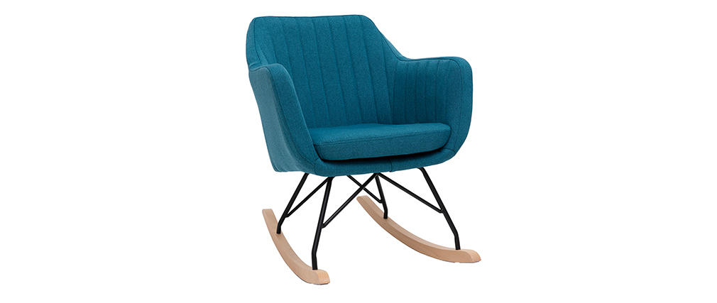 Scandinavian peacock blue fabric rocking chair ALEYNA