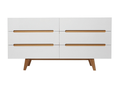 Scandinavian Style Glossy White and Ash 6 Drawer Chest MELKA