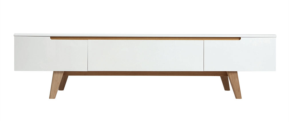 Scandinavian Style Glossy White and Ash TV Stand 180cm MELKA