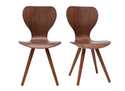 Scandinavian Style Natural Walnut Chair NORDECO Set of 2