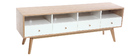 Scandinavian white wood TV stand HELIA