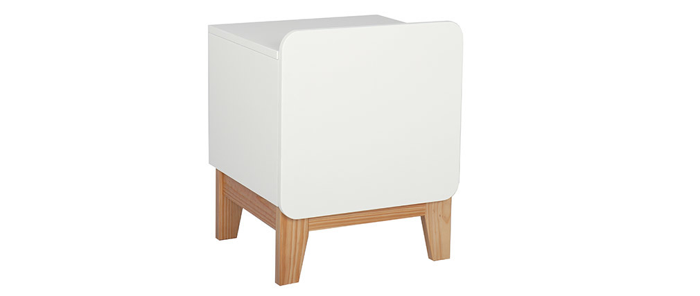 Scandinavian wooden and white bedside table KUNG
