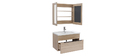 SEASON bathroom unit with basin, mirror and storage in light wood