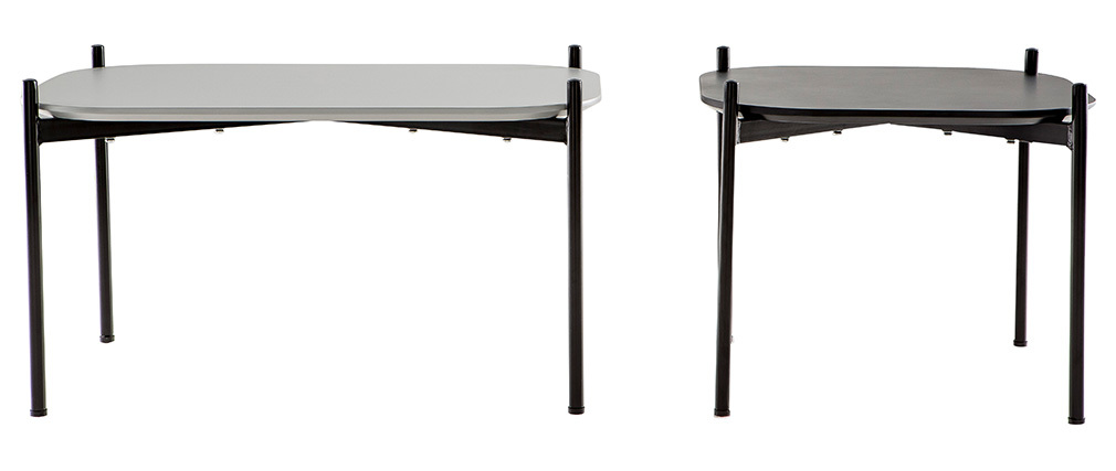 SEGA set of 2 grey/black designer coffee tables with metal legs 75cm and 50cm