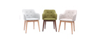 Set of 2 BALTIK Scandinavian designer light grey fabric armchairs with wooden legs