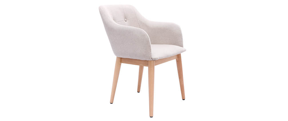 Set of 2 BALTIK Scandinavian designer natural fabric armchairs with wooden legs