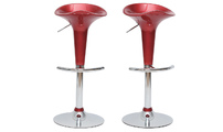 Set of 2 burgundy GALAXY bar stools